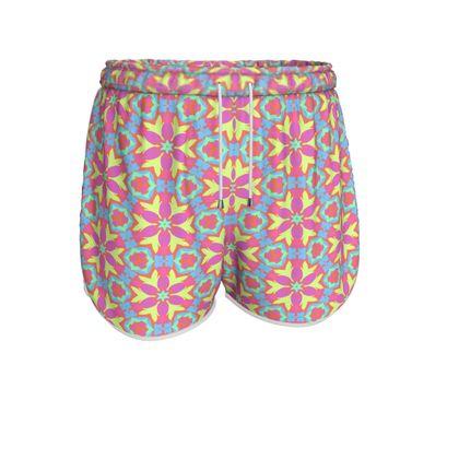 Womens Running Shorts  Pink, Blue Floral  Geometric Florals  Starflower