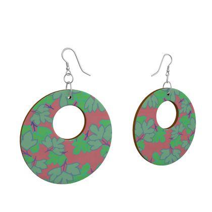 Wooden Earrings Organic Shapes Pink, Green, Floral  Oriental Leaves  Bluebird