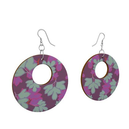 Wooden Earrings Organic Shapes Mauve, Turquoise  Oriental Leaves  Midnight