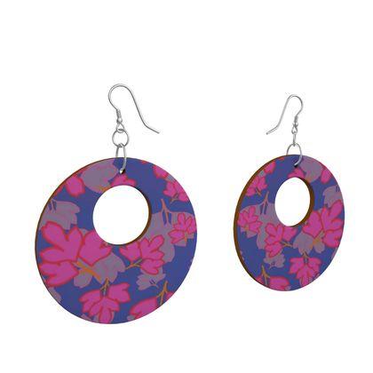Wooden Earrings Pink, Blue Floral  Oriental Leaves  Pink On Blue