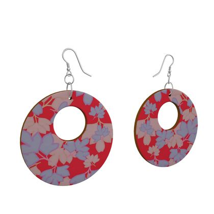 Wooden Earrings Organic Shapes Red, Blue, Botanical  Oriental Leaves  Leaves On Cerise.