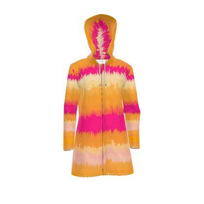 Women's Hooded Rain Mac - Emmeline Anne Sunset Stripes