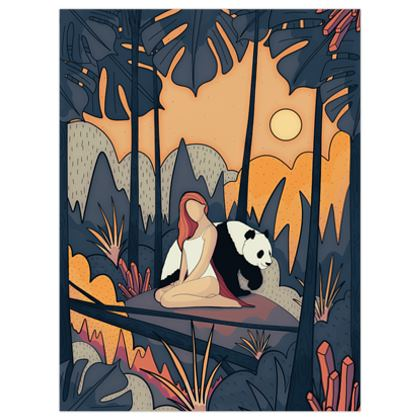 The panda and the girl poster print