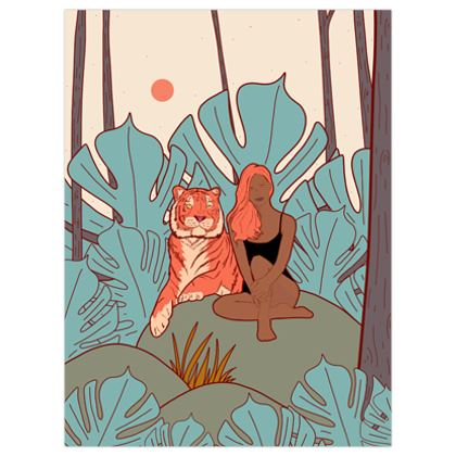 The tiger and the girl poster print