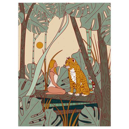 The girl and the leopard poster print