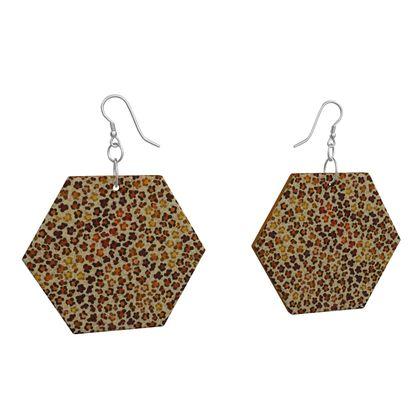 Leopard Skin Collection Wooden Earrings Geometric Shapes