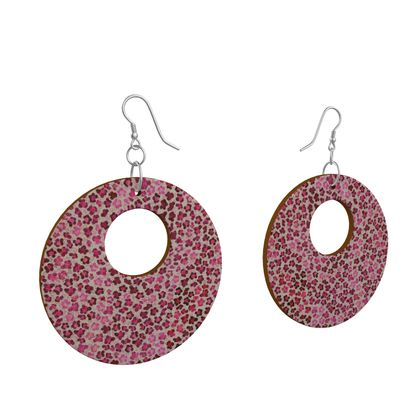 Leopard Skin in Magenta Collection Wooden Earrings Organic Shapes