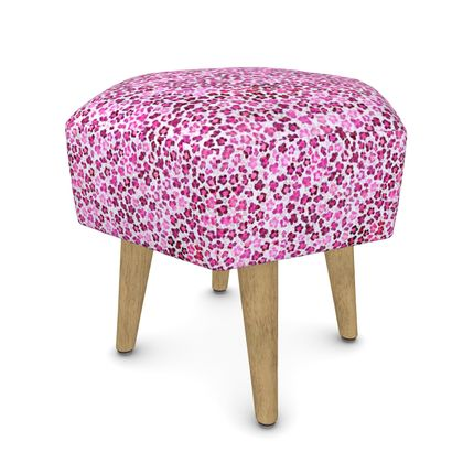Leopard Skin in Magenta Collection Footstool (Round, Square, Hexagonal)