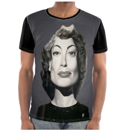 Joan Crawford Celebrity Caricature Cut and Sew T Shirt