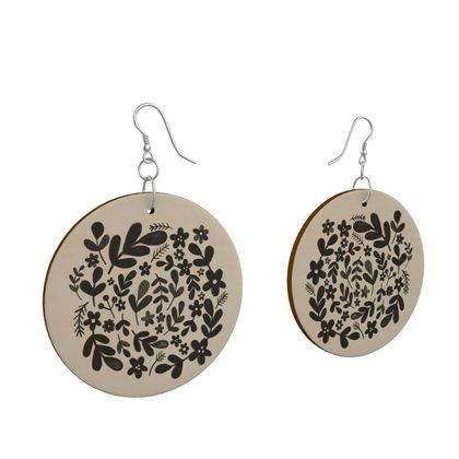 Wooden earrings with leafy black design