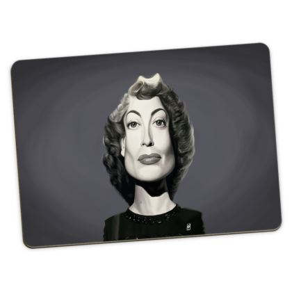 Joan Crawford Celebrity Caricature Large Placemats