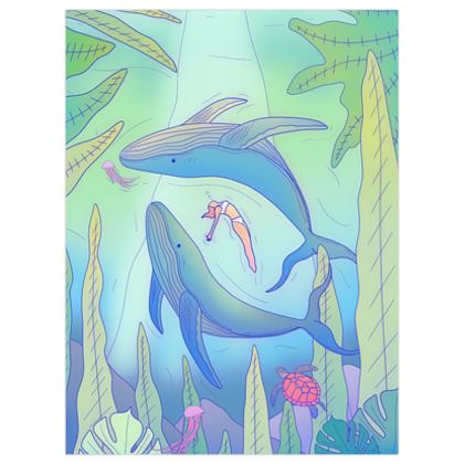 The girl and the whales poster print