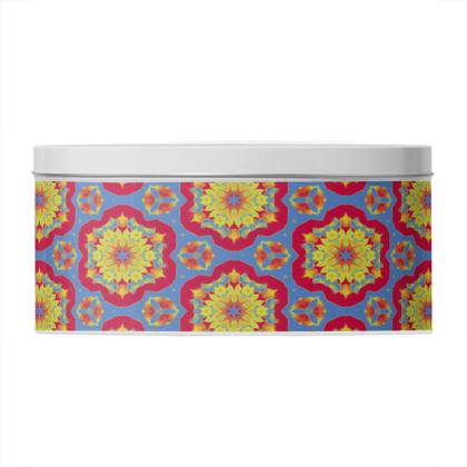 Round Tin Red, Blue Floral  Geometric Florals  Citadel