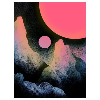 The two pink planets poster print