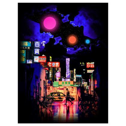 Neon streets poster print