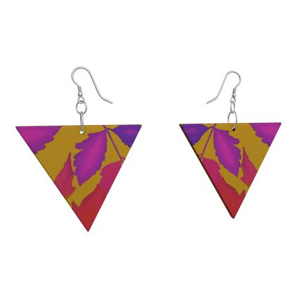 Wooden Earrings Geometric Shapes, Mauve, Pink,  Cathedral Leaves  Joker