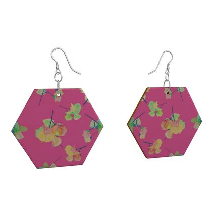 Wooden Earrings Geometric Shapes Pink, Apricot  My Sweet Pea   Violet