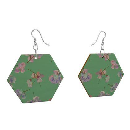 Wooden Earrings Geometric Shapes,  OrchardGreen, Pink,  My Sweet Pea