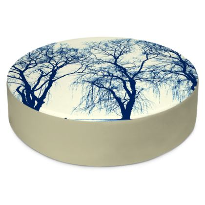 Blue Trees Round Floor Cushion