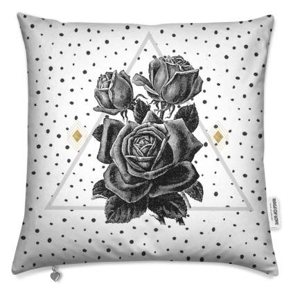 'Black Rose and Pyramid' Cushion