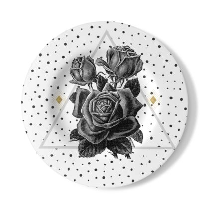 'Black Rose and Pyramid' Decorative Plate