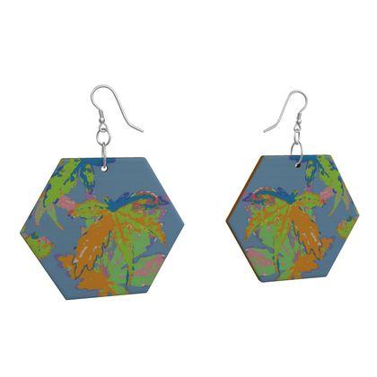Wooden Earrings Geometric Shapes  Blue, Orange, Botanical  Regal Leaves  Greece