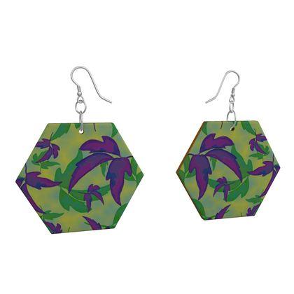 Wooden Earrings, Purple, Green, Botanical  Leaves In Flight  Purple Sails