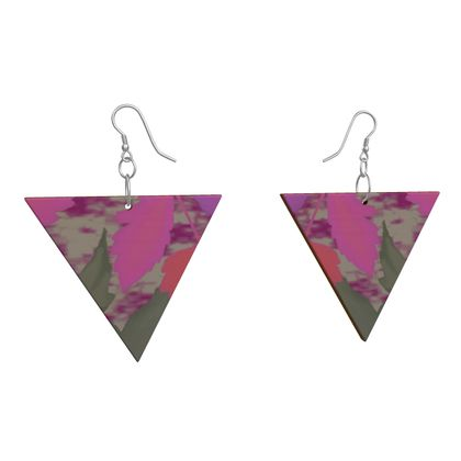 Wooden Earrings Pink, Grey, Botanical   Cathedral Leaves  Mauve