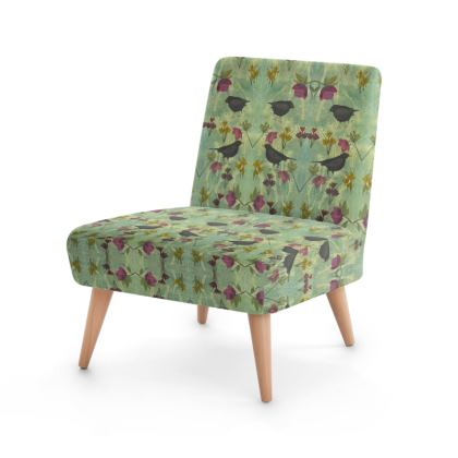 'My Little Green Space' Occasional Chairs. A unique designer chair from the 'My Little Green Space' collection, featuring blackbirds and flowers in on-trend colourways of green, gold and plum.