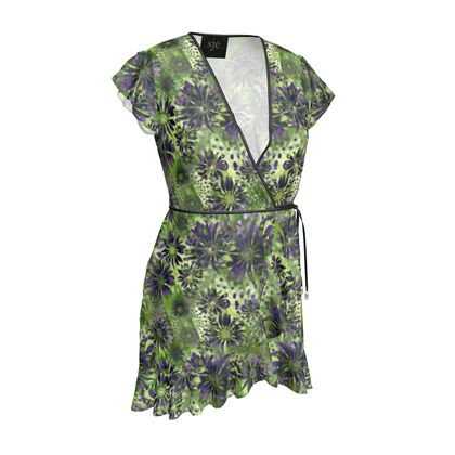 Tea Dress | Green Purple Coneflowers