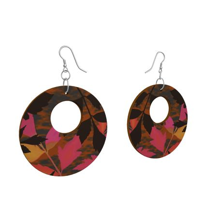 Wooden Earrings Organic Shapes Pink, Yellow, Botanical   Diamond Leaves  Infrared