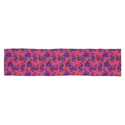 Scarf [135 cm x 31 cm shown] Dusky pink, Mauve, Botanical  Slipstream  Berries