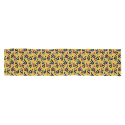 Scarf [135 cm x 31 cm shown] Gold, Violet, Botanical  SlipstreamGoldfinch