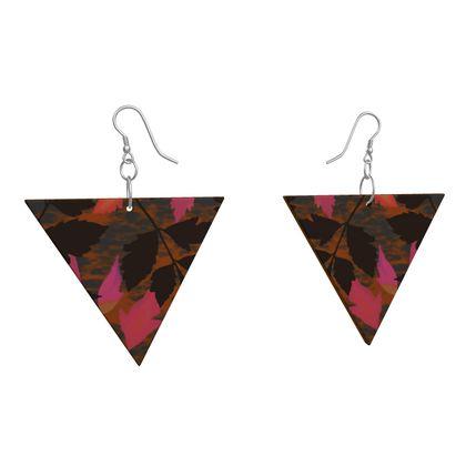 Wooden Earrings Geometric Shapes Pink, Black,  Botanical  Diamond Leaves  Infrared