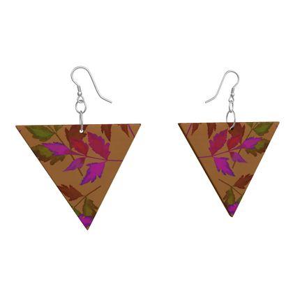 Wooden Earrings Geometric Shapes Botanical  Slipstream  Butterscotch