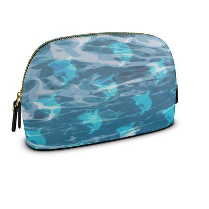 Large Premium Nappa Make Up Bag - Shark Ocean Abstract