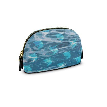 Small Premium Nappa Make Up Bag - Shark Ocean Abstract