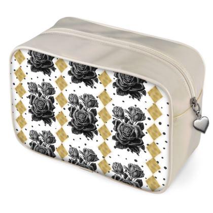 Black Rose and Gold Rhombus Wash Bag