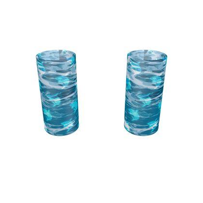 Large Round Shot Glass 2 Set - Shark Ocean Abstract