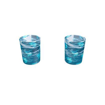 Round Shot Glass 2 Set - Shark Ocean Abstract