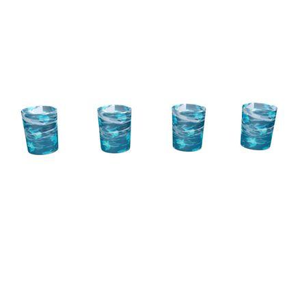 Round Shot Glass 4 Set - Shark Ocean Abstract