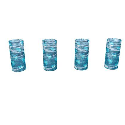 Large Round Shot Glass 4 Set - Shark Ocean Abstract
