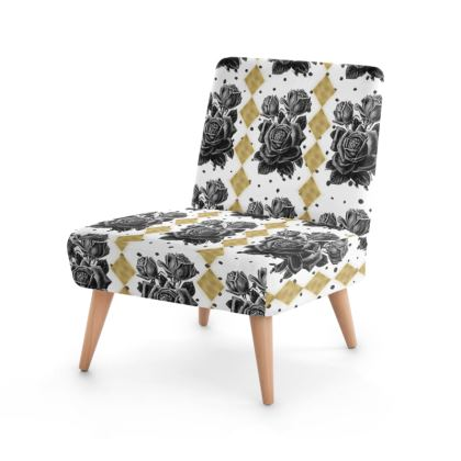 Black Rose and Gold Rhombus Occasional Chair