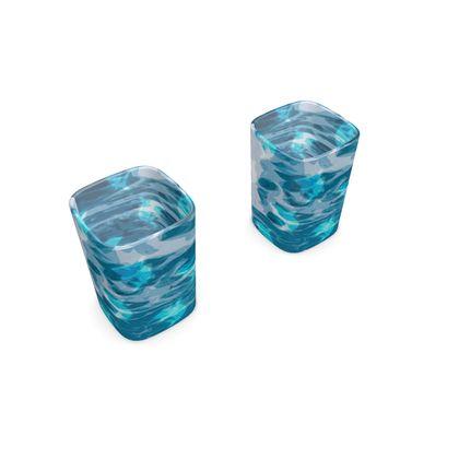Square Shot Glass 2 Set - Shark Ocean Abstract