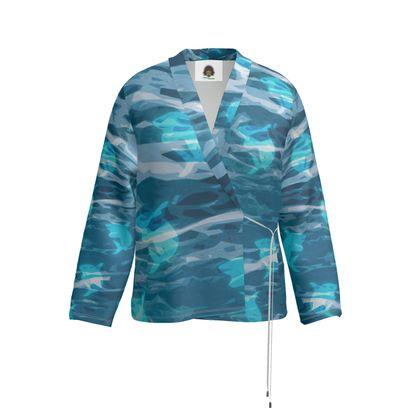 Wrap Blazer - Shark Ocean Abstract
