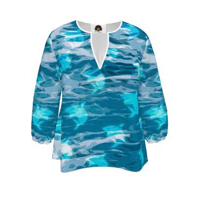 Womens Blouse - Shark Ocean Abstract