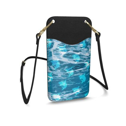 Leather Phone Case With Strap - Shark Ocean Abstract