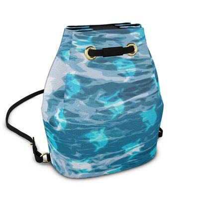 Bucket Backpack - Shark Ocean Abstract