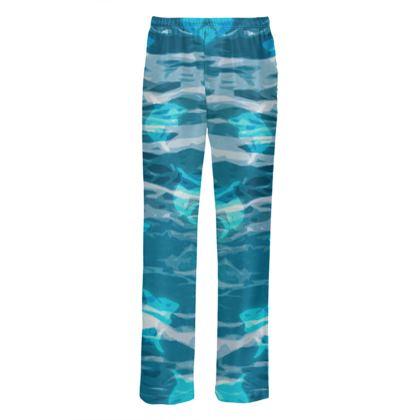 Mens Silk Pyjama Bottoms - Shark Ocean Abstract