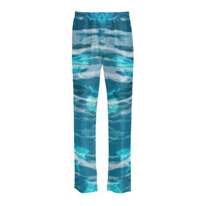 Ladies Silk Pyjama Bottoms - Shark Ocean Abstract